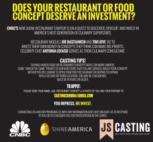 Restaurant Startup Casting